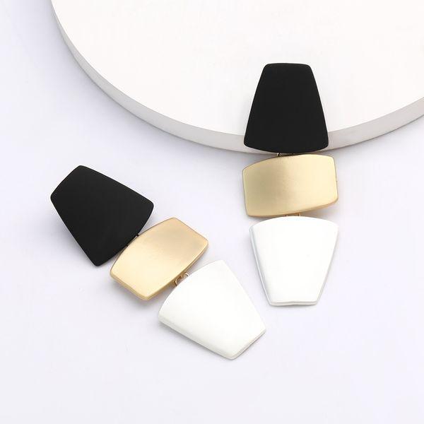 Exaggerated big multi-layer geometric alloy earrings multicolor stitching earrings tide temperament earrings niche style wholesale nihaojewelry  NHJE218935