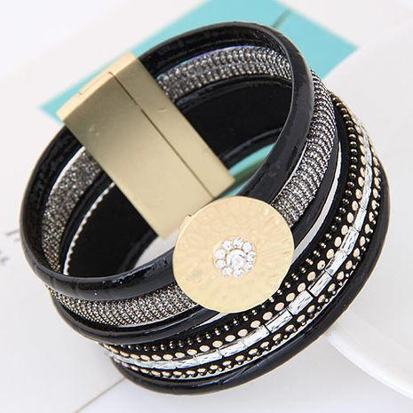 new trend metal flashes gorgeous multi-layer leather wild temperament fashion ultra wide magnetic buckle bracelet wholesale nihaojewelry NHSC220205's discount tags
