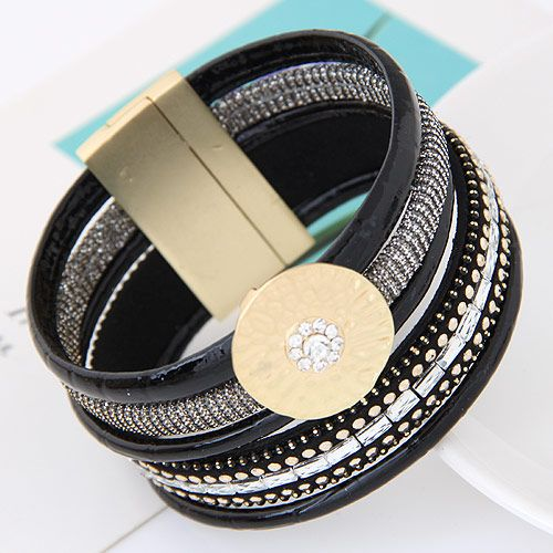 new trend metal flashes gorgeous multi-layer leather wild temperament fashion ultra wide magnetic buckle bracelet wholesale nihaojewelry NHSC220205
