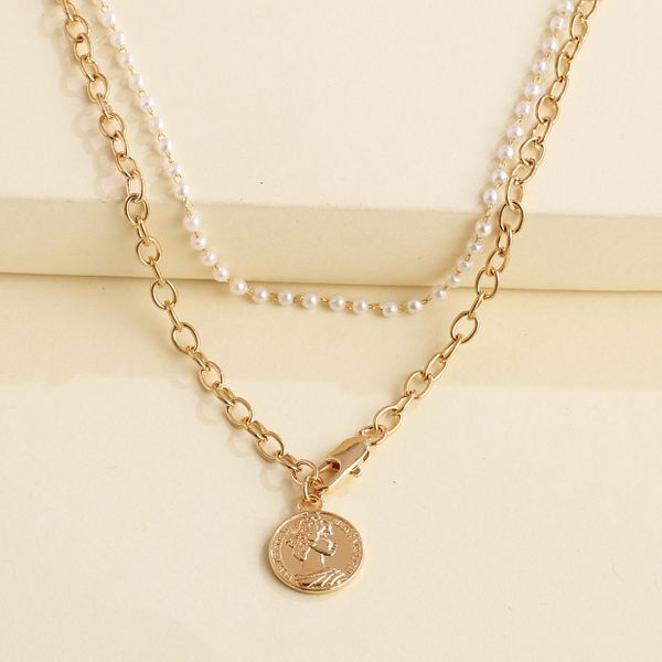 fashion personality geometric pendant necklace multi-layer coin relief pearl wild necklace wholesale nihaojewelry NHJJ218943