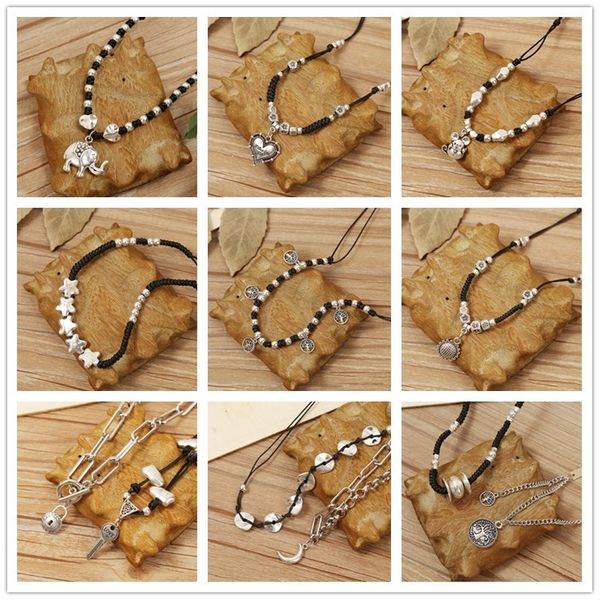 Retro ethnic style handmade literary short adjustable necklace ancient silver cotton and linen clothes accessories wholesale nihaojewelry NHJJ218950