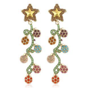 Korean fashion long diamond stud earrings temperament ear jewelry wild personality flower earrings trendy earrings wholesale nihaojewelry  NHVA218961's discount tags