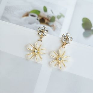 Japanese and Korean fashion personality flower alloy diamond earrings temperament wild fashion earrings  jewelry wholesale nihaojewelry  NHVA218966's discount tags