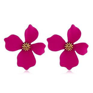 Fashion Flower Spray Paint Stud Earrings Women Exaggerated Alloy Flower Lady Earrings wholesale nihaojewelry  NHVA218971's discount tags