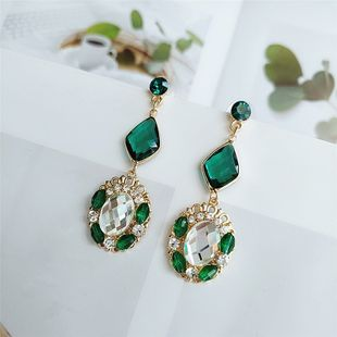 925 silver needle alloy diamond earrings temperament new tide leaf earrings wholesale nihaojewelry  NHVA218976's discount tags