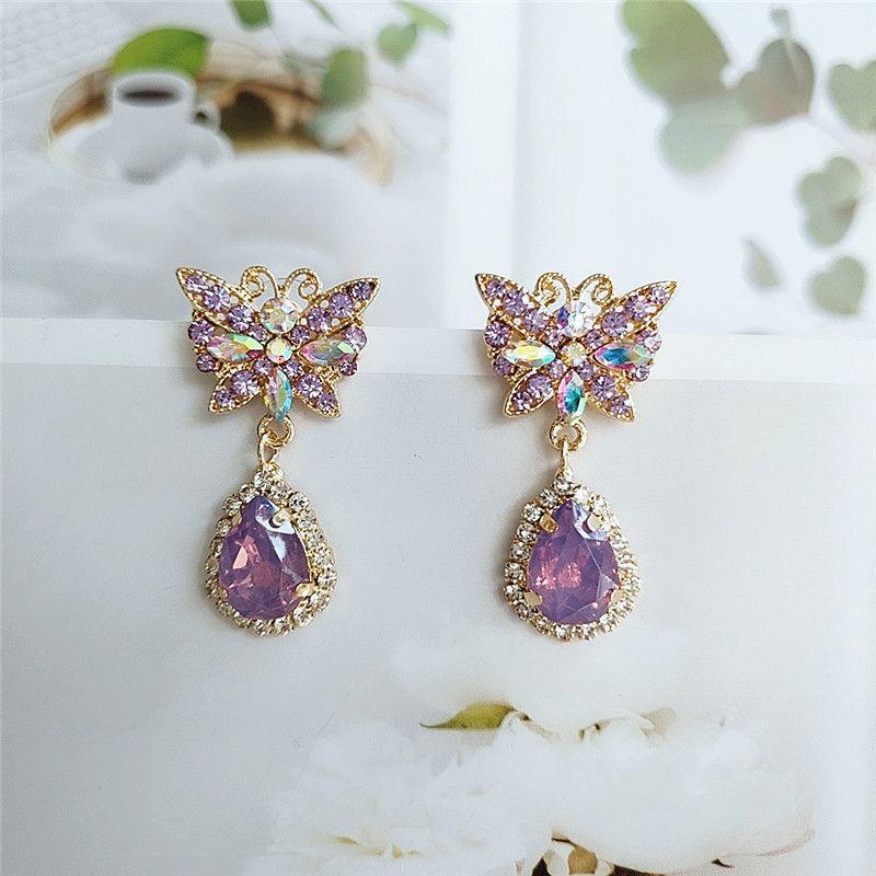 fashion jewelry trend Korean alloy diamond long butterfly earrings accessories wholesale nihaojewelry  NHVA218978