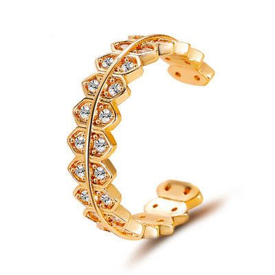 new ring triangle zircon ring personalized gear design sense opening adjustable tail ring ring wholesale nihaojewelry  NHMO218987