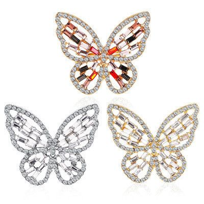 New exaggerated sparkle open ring adjustable temperament zircon hollow butterfly ring wholesale nihaojewelry  NHMO218988