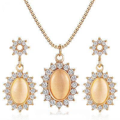 new jewelry suit temperament French micro-inlay zircon oval necklace opal sunflower earrings wholesale nihaojewelry NHMO218991