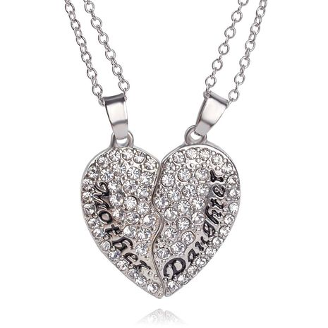 explosion of money chain fashion motherdaughter Mother's Day gift love stitching pendant necklace wholesale nihaojewelry  NHMO218995's discount tags