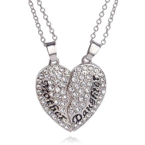 explosion de chaîne d'argent mode mère-fille cadeau de fête des mères amour couture pendentif collier en gros nihaojewelry NHMO218995's discount tags