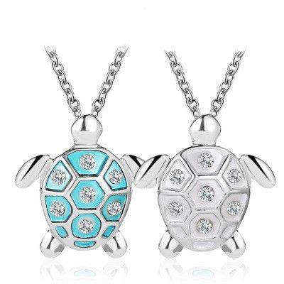 New Necklace Ocean Wind Simple Cute Turtle Pendant Clavicle Chain Diamond Drill Turtle Necklace Necklace wholesale nihaojewelry  NHMO219007