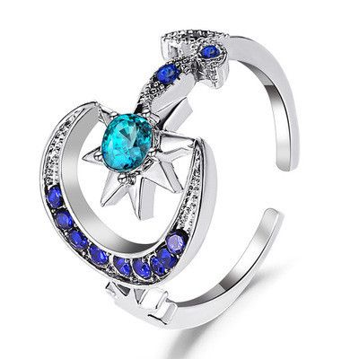 new ring personality fashion star moon opening index finger ring bright blue star ring wholesale nihaojewelry  NHMO219008's discount tags