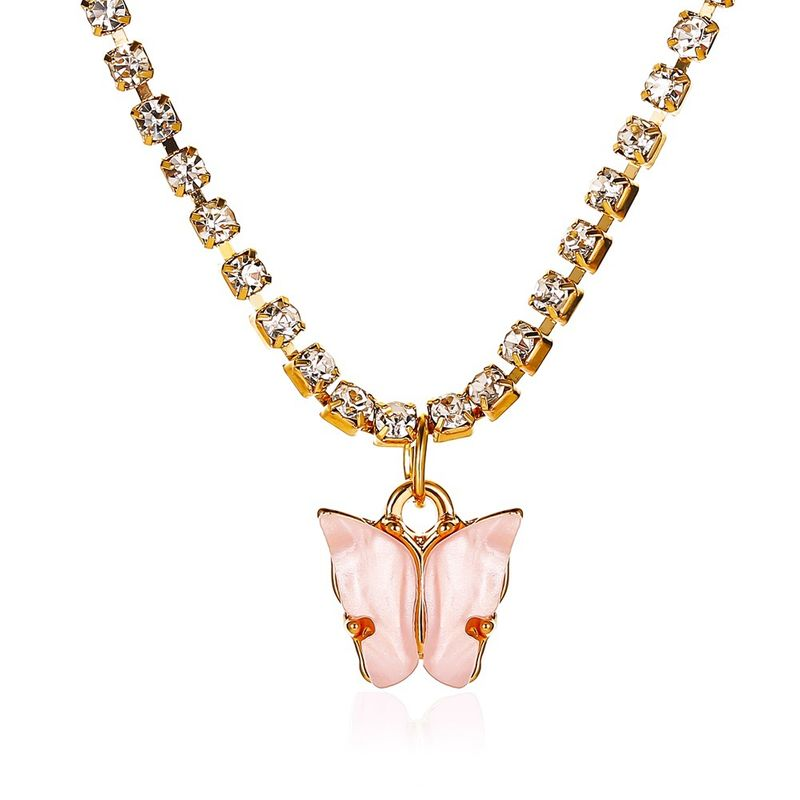 New Necklace Explosions Butterfly Necklace Female Wild Colorful Butterfly Clavicle Chain Simple Butterfly Pendant wholesale nihaojewelry  NHMO219009