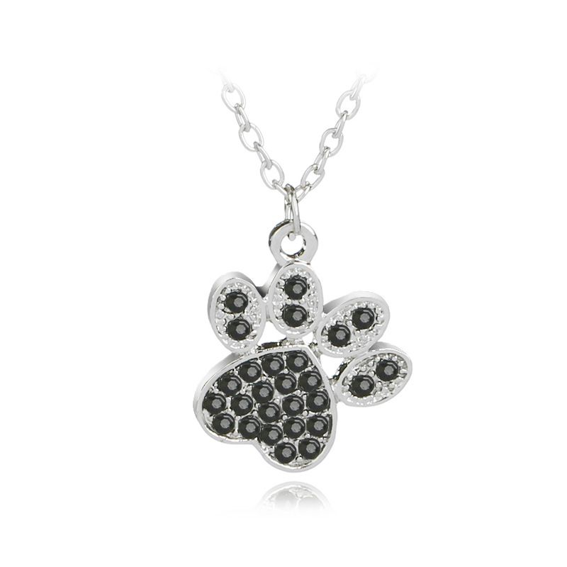 explosion necklace fashion cute personality pet dog claw diamond pendant necklace clavicle chain accessories wholesale nihaojewelry  NHMO219016