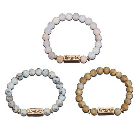 explosive natural stone bracelet Forever Confident retro ethnic style unisex bracelet wholesale nihaojewelry NHMO219017's discount tags