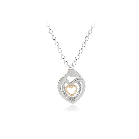 Explosion Necklace Clavicle Chain Fashion Trend Mother's Day Gift Belt Diamond Double Heart Pendant Necklace wholesale nihaojewelry  NHMO219022's discount tags