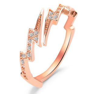Nuevo anillo creativo irregular geométrico circón rayo anillo de apertura anillo anillo de la joyería al por mayor nihaojewelry NHMO219024's discount tags