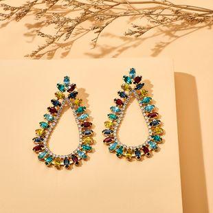 Primavera y verano nueva aleación en forma de gota de diamantes de imitación de diamantes de imitación pendientes de diamantes completos personalidad pendientes de moda al por mayor nihaojewelry NHGY219073's discount tags