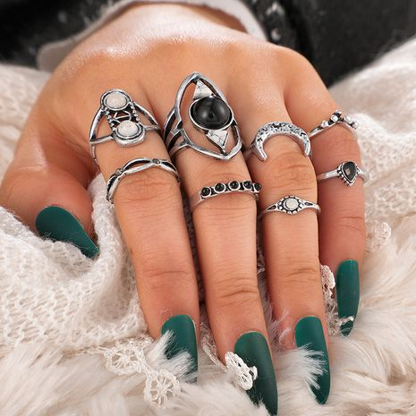 new jewelry creative retro turquoise diamond-studded wisp crescent ring set geometric ring 8 piece set wholesale nihaojewelry  NHGY219075's discount tags