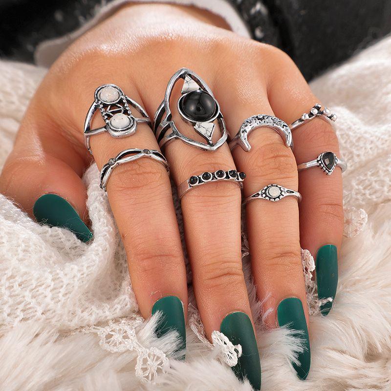 new jewelry creative retro turquoise diamond-studded wisp crescent ring set geometric ring 8 piece set wholesale nihaojewelry  NHGY219075