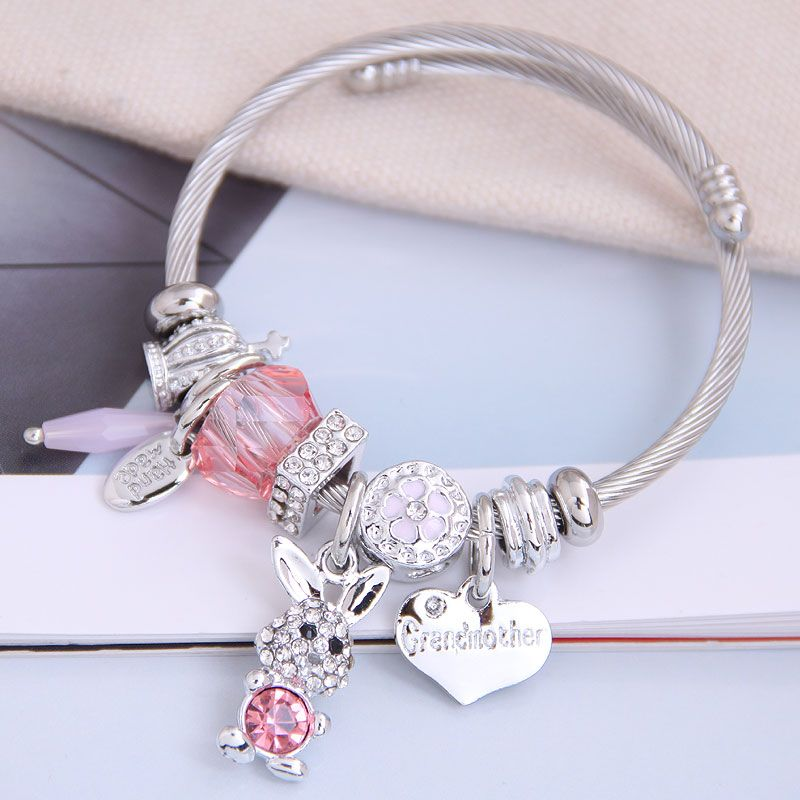 fashion metal wild pan DL simple and wild shine bunny pendant multi-element accessories personalized bracelet wholesale nihaojewelry NHSC219336