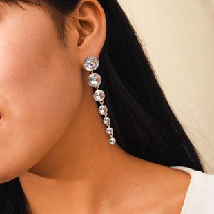 Nuevas joyas pendientes de diamantes de tamaño de sección larga populares pendientes geométricos redondos de diamantes completos al por mayor nihaojewelry NHGY219077's discount tags
