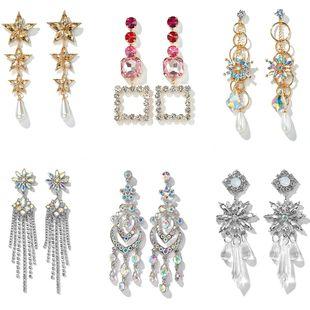 Joyas para los oídos bohemio exagerada larga sección conjunto de diamantes circón pendientes de gota de cristal al por mayor nihaojewelry NHGY219080's discount tags