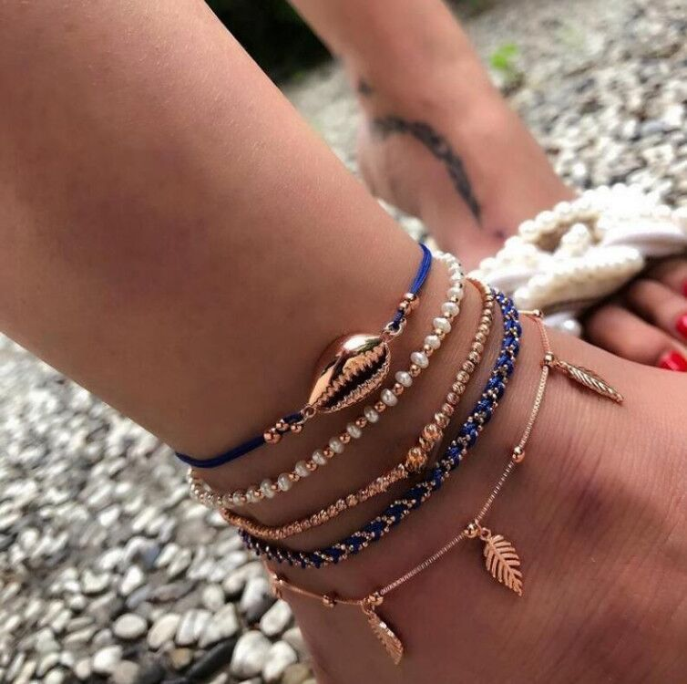 new jewelry fashion popular eyes shell anklet cord rope beads beads anklet 5-piece set wholesale nihaojewelry NHGY219083