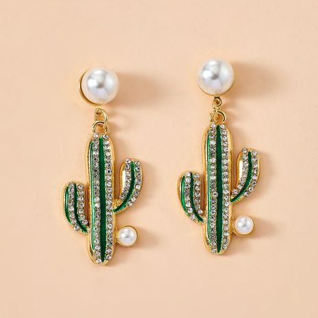 fashion personality creative alloy diamond inlaid pearl cactus earrings girl heart Korean earrings wholesale nihaojewelry  NHGY219088's discount tags