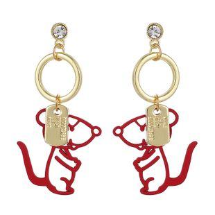 Corea del sur nueva joyería linda zodiaco salvaje rata pendientes creativos raya pendientes de diamantes al por mayor nihaojewelry NHGY219089's discount tags