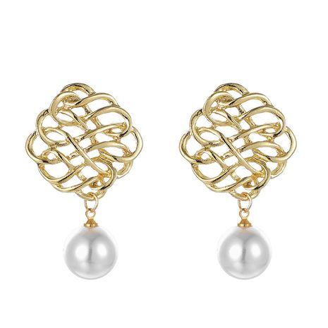 Japan and South Korea's new jewelry popular silk hollow pattern pearl earrings alloy Chinese knot earrings wholesale nihaojewelry  NHGY219095's discount tags