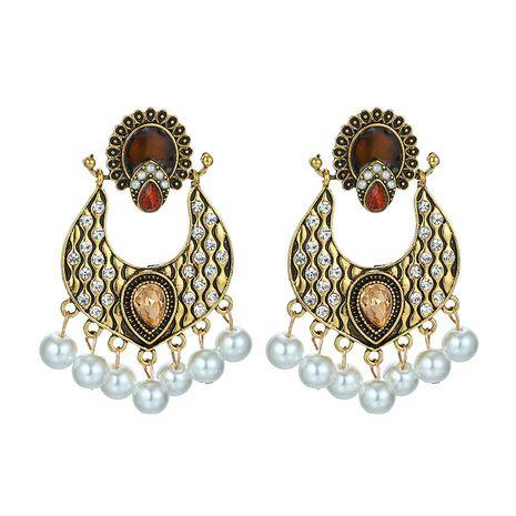 Fashion style multi-layer alloy diamond rhinestone imitation pearl palace style retro earrings wholesale nihaojewelry  NHGY219109's discount tags