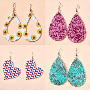 Nuevos pendientes de moda coreana simple viento blanco azul rojo tres colores pendientes de flores de amor personalidad pendientes geométricos al por mayor nihaojewelry NHGY219115's discount tags