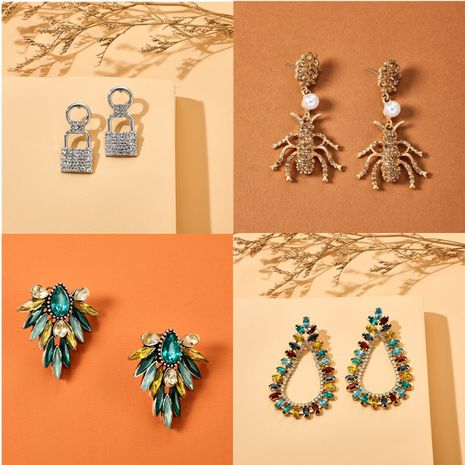 new full diamond earrings personality creative diamond pearl insect flower earrings fashion wild girl earrings wholesale nihaojewelry  NHGY219117's discount tags