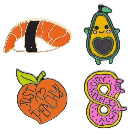 new brooch creative cute donut cartoon yellow peach avocado sushi cowboy badge wholesale nihaojewelry  NHMO219121's discount tags