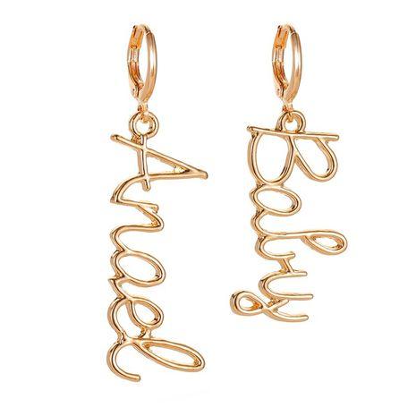 new earring personality asymmetric letter earrings female temperament popular long section earrings wholesale nihaojewelry NHMO219128's discount tags