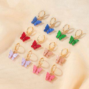 Nuevos pendientes de mariposa temperamento pendientes de mariposa súper hadas pendientes de oreja color acrílico pendientes al por mayor nihaojewelry NHMO219129's discount tags