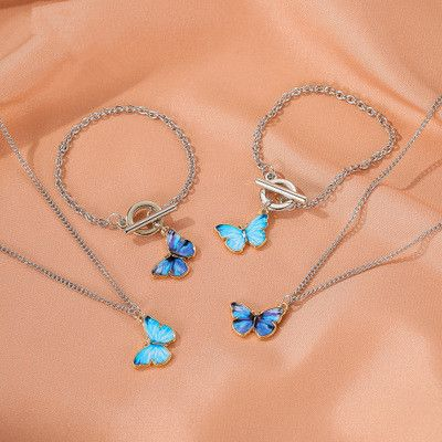 new style jewelry set personality gradient butterfly necklace couple clavicle chain color butterfly bracelet wholesale nihaojewelry  NHMO219152's discount tags