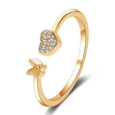 nouvel anneau sauvage amour papillon anneau réglable bague fille index doigt ouverture anneau en gros nihaojewelry NHMO219159's discount tags