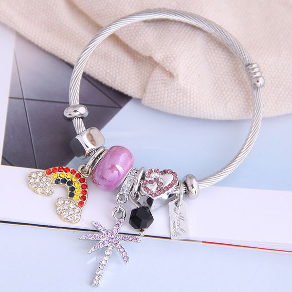 fashion metal wild pan DL simple wild rainbow flash diamond tree pendant multi-element accessories personalized bracelet wholesale nihaojewelry NHSC219333