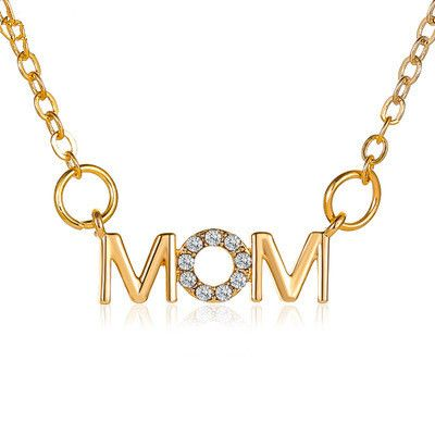 Necklace Simple English Alphabet Necklace Mother Pendant Clavicle Chain MOM copper  Necklace wholesale nihaojewelry NHMO219163's discount tags