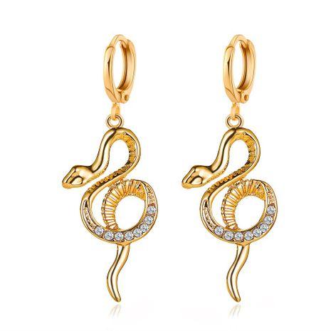 new earrings temperament luxury earrings ear buckle personality full diamond snake shaped long earrings ladies earrings wholesale nihaojewelry  NHMO219166's discount tags