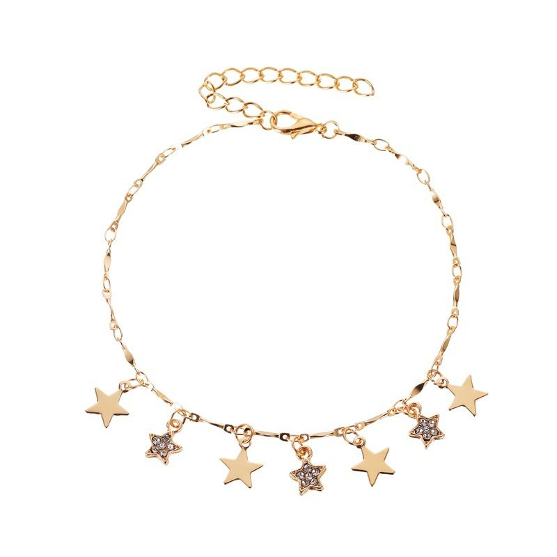 new anklet summer beach wind star pendant anklet ladies wild fivepointed star tassel anklet wholesale nihaojewelry NHMO219182