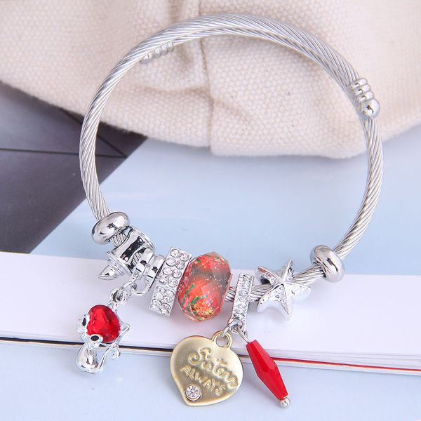 fashion metal wild pan DL simple and cute cat love pendant multi-element accessories personalized bracelet wholesale nihaojewelry NHSC219335