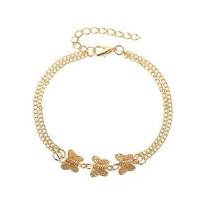 new anklet personality metal texture three butterfly anklet cold wind simple double-layer footwear wholesale nihaojewelry NHMO219183's discount tags
