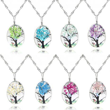 collier vie tronc fleur pendentif collier femme verre cristal plante temps double face bijou collier en gros nihaojewelry NHMO219210's discount tags