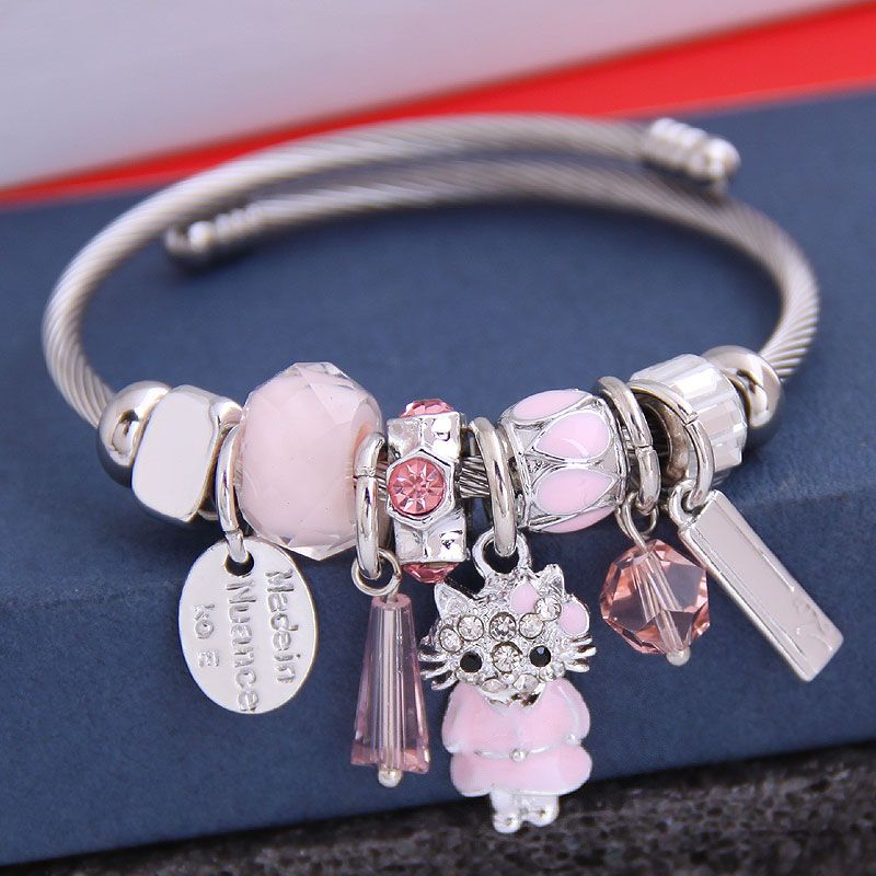 fashion metal wild pan DL simple and cute cat pendant multi-element accessories personalized bracelet wholesale nihaojewelry NHSC219334