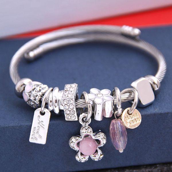 fashion metal wild pan simple and sweet flash diamond flower pendant multi-element accessories personalized bracelet NHSC219328