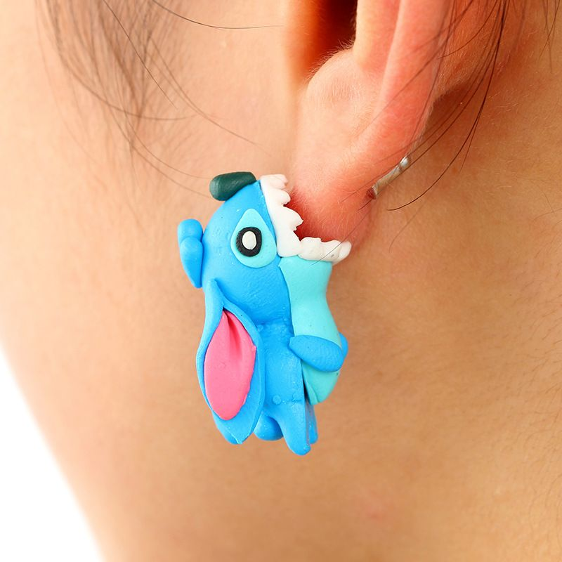 cute cartoon animal soft ceramic earrings bite ear dog earrings pet series earrings wholesale nihaojewelry NHGY219219